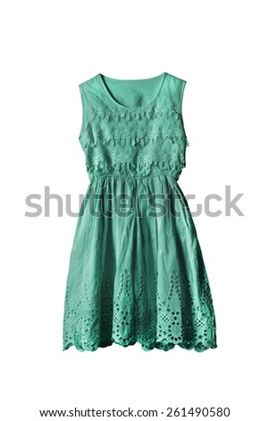 Lacy cyan sleeveless dress on white background - stock photo