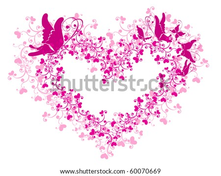 Lacy heart with floral ornament. Look a vector the version of the given illustration in my portfolio - stock photo