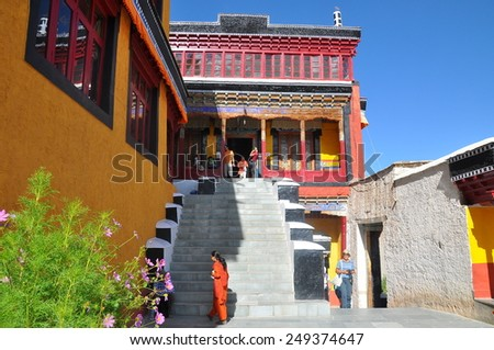 Ladakh,India - Aug, 10: Thiksey gompa (Tibetan Buddhist monastery) on August, 10, 2011. Ladakh,India