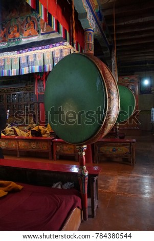 LADAKH, INDIA - SEP 12, 2017 - Buddhist drum in temple of Liker Gompa Monastery, Ladakh, India