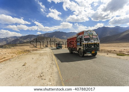 Ladakh, India - September 20, 2015 : Truck on the high altitude Srinaga-Leh road in Ladakh province, India