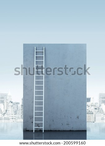 Ladder against a narrow wall.  - stock photo