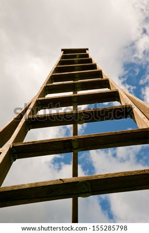 Ladder and sky background - stock photo