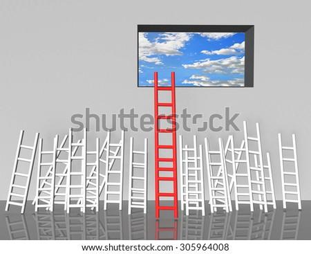 ladder competitive advantage -  success education business  - stock photo