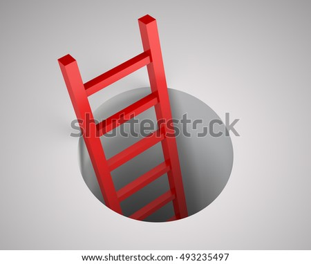 Ladder from round hole. Leadership concept. Illustration 3d rendering.