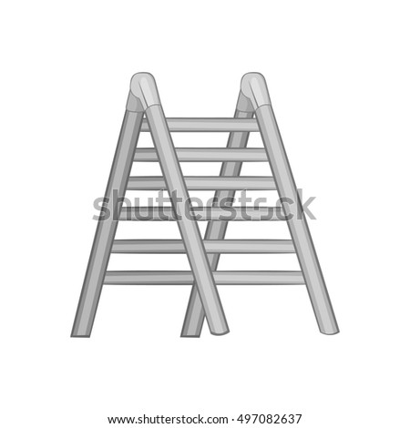 Ladder icon in black monochrome style isolated on white background. Equipment symbol  illustration