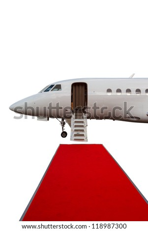 ladder in a private jet and red carpet isolated on white background - stock photo
