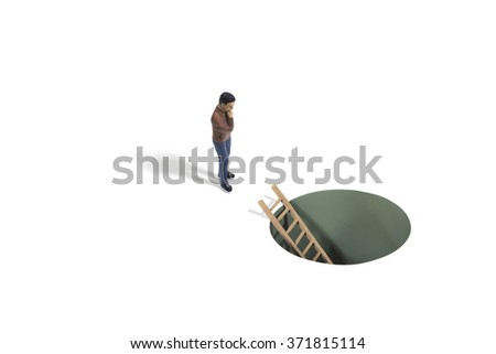 Ladder in Hole with Human figure - stock photo