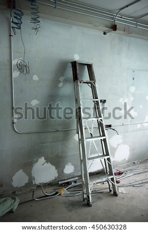 Ladder in the construction building.