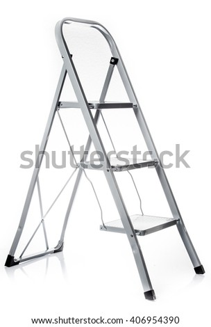 Ladder isolated .  metal ladder over white background - stock photo