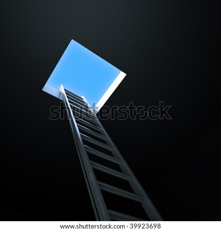 Ladder leading up to the light - stock photo