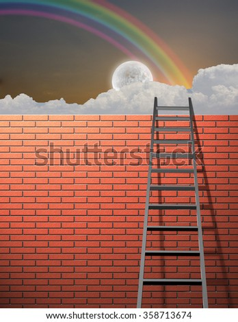 Ladder leans on wall with sky - stock photo
