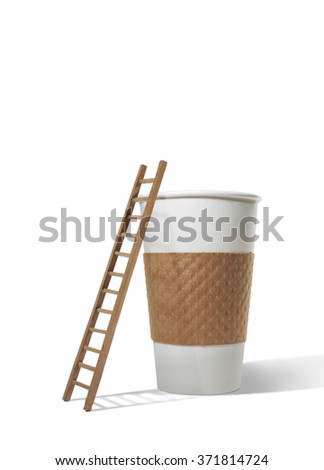 Ladder next to large coffee cup - stock photo