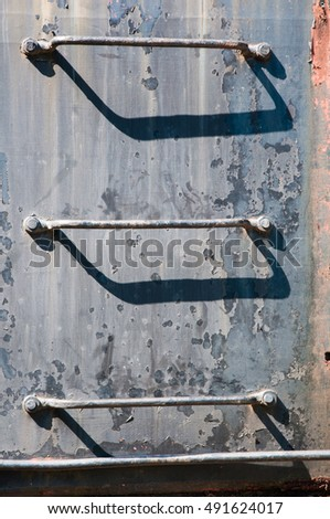 Ladder on a side of an old train locomotive