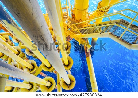 Ladder on Aligned Oil and Gas Pipeline and Production slots on the sea background in Offshore wellhead remote platform, Energy and petroleum industry, Oil and gas or Petroleum is major of the world. - stock photo