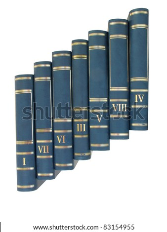 Ladder pile of books isolated over white background - stock photo