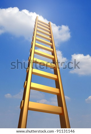 Ladder reaching into a blue sky and clouds .  3d render illustration - stock photo