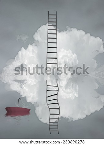 Ladder reflected in water with floating umbrella - stock photo