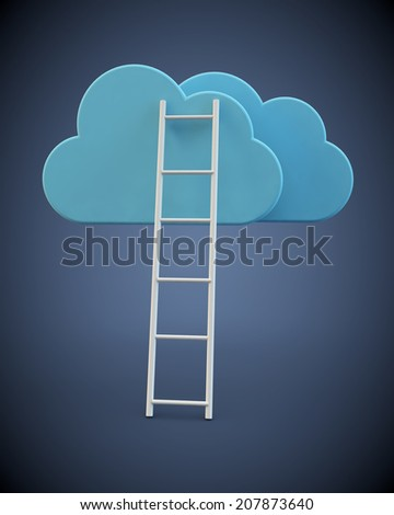 ladder rests against clouds on a blue background - stock photo