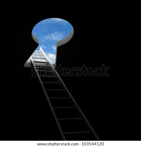 Ladder through keyhole to the sky - stock photo