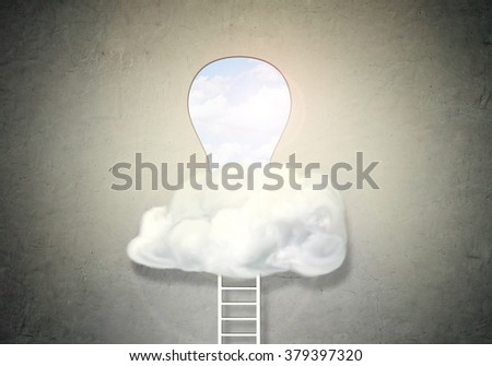 Ladder to big keyhole in white wall hidden on cloud - stock photo