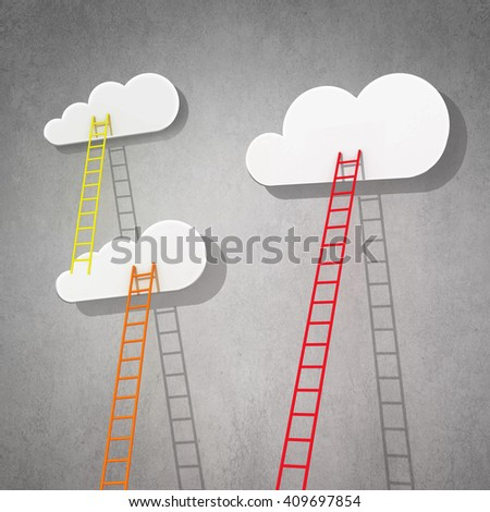 Ladder to cloud in sky