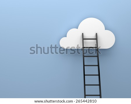 Ladder to cloud motivation concept - stock photo