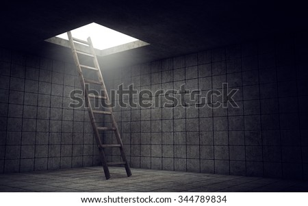 Ladder to freedom from dirty room - stock photo