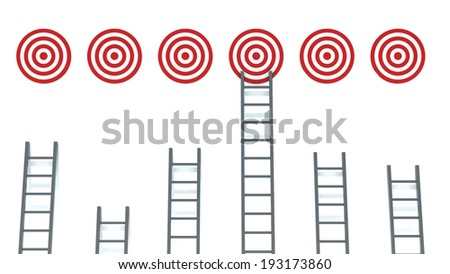 Ladder to middle of target on white background - stock photo
