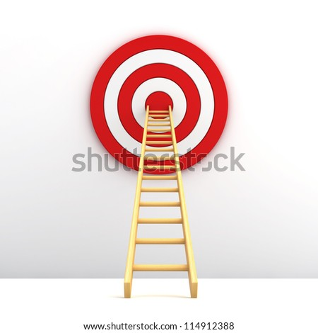 Ladder to the middle of the red target on white background - stock photo