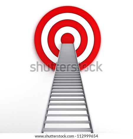 Ladder to the middle of the red target on white background , The business marketing concept - stock photo