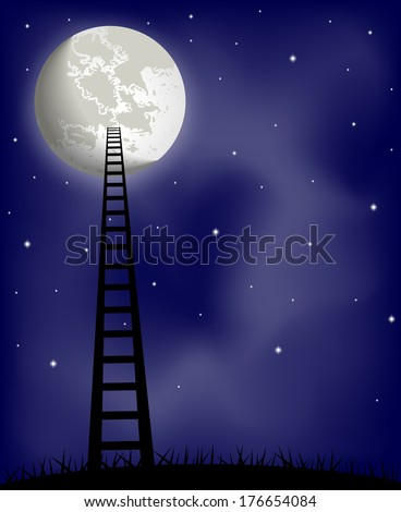 Ladder to the moon. Raster version  - stock photo