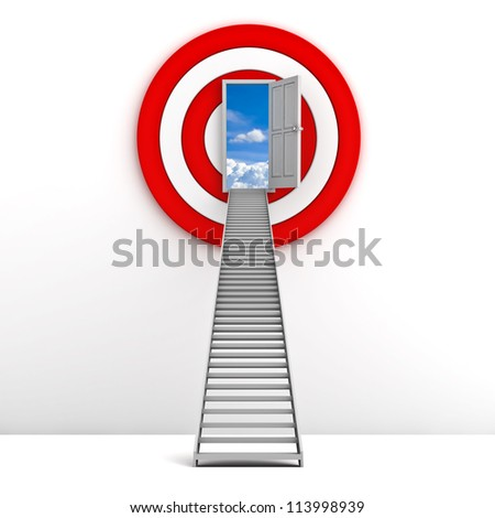Ladder to the sky door with red target behind over white background , Life goal concept