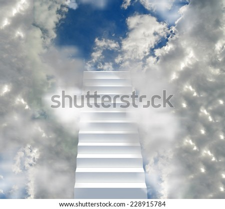 ladder to the sky, way to the god, steps to the hole of clouds - heaven   rise  death - stock photo