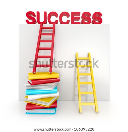 ladders and books up to success. business concept. 3d illustration isolated on white background - stock photo
