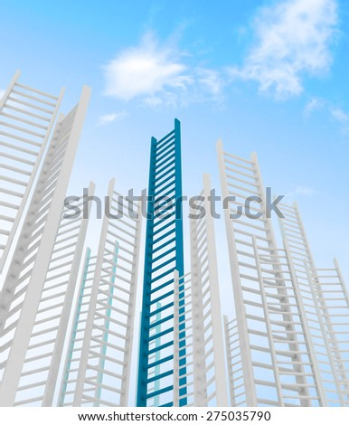 Ladders leading to a clouds - rendered in 3d - stock photo