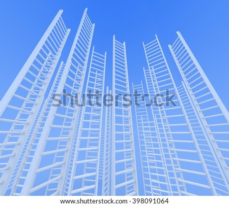 Ladders leading to a sky - rendered in 3d - stock photo