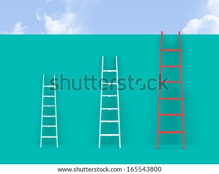 Ladders on wall front of cloudy sky. - stock photo