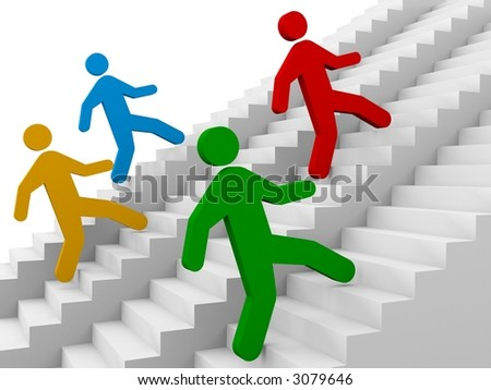 ladders to success (need more runners - see my portfolio) - stock photo