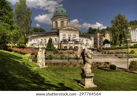 LADEK ZDROJ, POLAND - JUN 21, 2014: Ladek Zdroj is a town in Klodzko County, Lower Silesian Voivodeship, in south-western Poland. The city is one of the oldest spas in Europe - stock photo