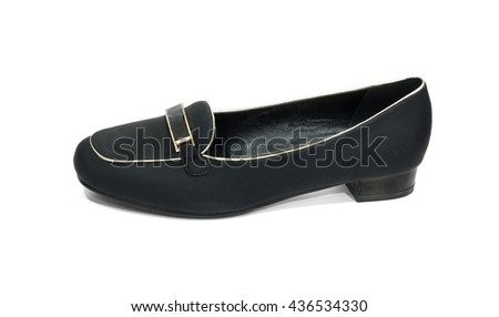 Ladies black formal shoe on white background