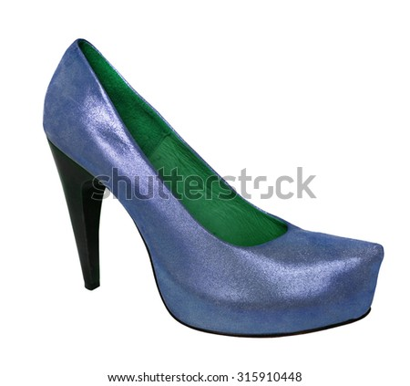 Ladies blue shoes from genuine leather and high heel - stock photo