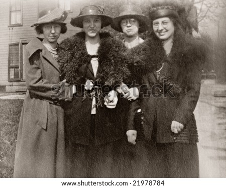 Ladies Day Out Antique Photo - stock photo