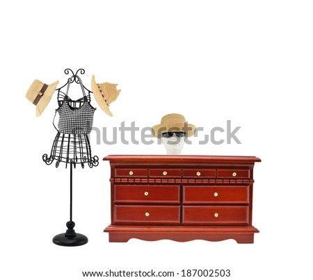 Ladies Hats Purse Seamstress Tailor Mannequin Wood Dresser isolated on white background