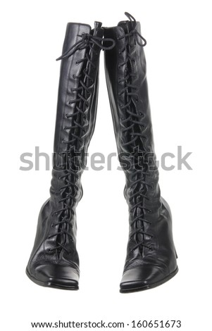 Ladies High Boots on White Background