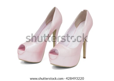 Ladies high heels pink shoes on white background