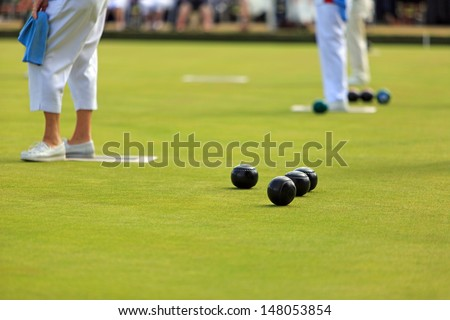 Ladies Lawn Bowls - stock photo