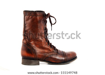 Ladies leather boots isolated on a white background. - stock photo