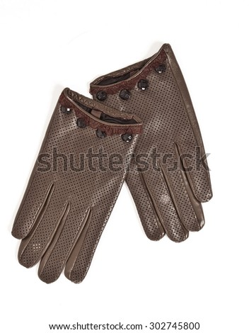 Ladies  leather gloves isolated