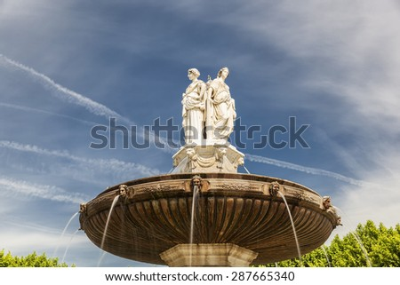 Ladies of Fountain at La Rotonde in Aix-en-Provence, France - stock photo